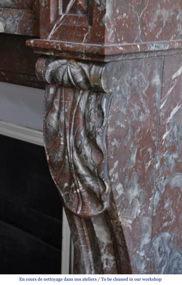 Antique Napoleon III style fireplace in Northern red marble-4