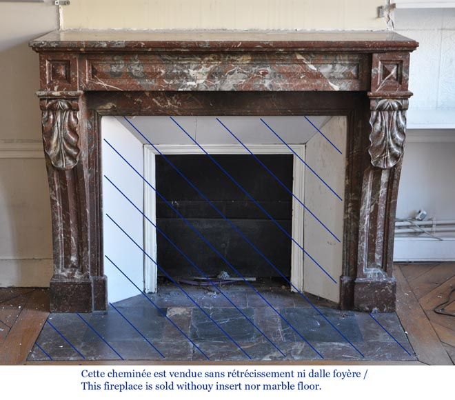 Antique Napoleon III style fireplace in Northern red marble-5