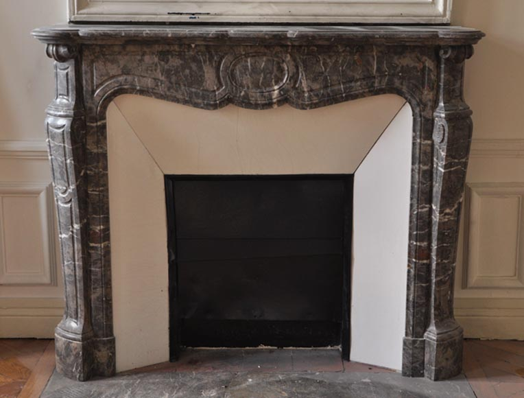 Antique fireplace, Pompadour model, in Gris de Caunes marble - Reference 2465