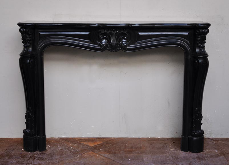 Very beautiful antique Louis XV style fireplace in Black from Belgium marble - Reference 2467