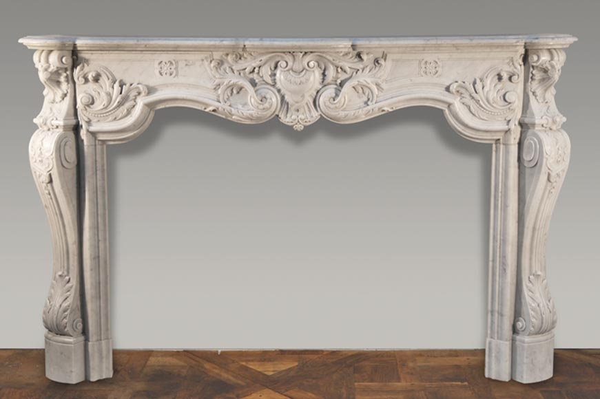 Beautiful antique Louis XV style fireplace very carved in Carrara marble - Reference 2476