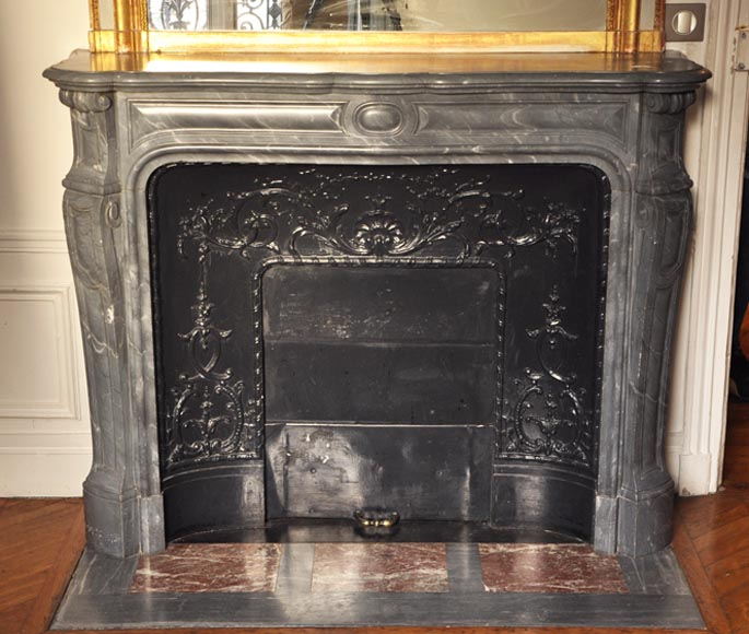Antique Louis XV style fireplace, Pompadour model, in Bleu Turquin marble - Reference 2486