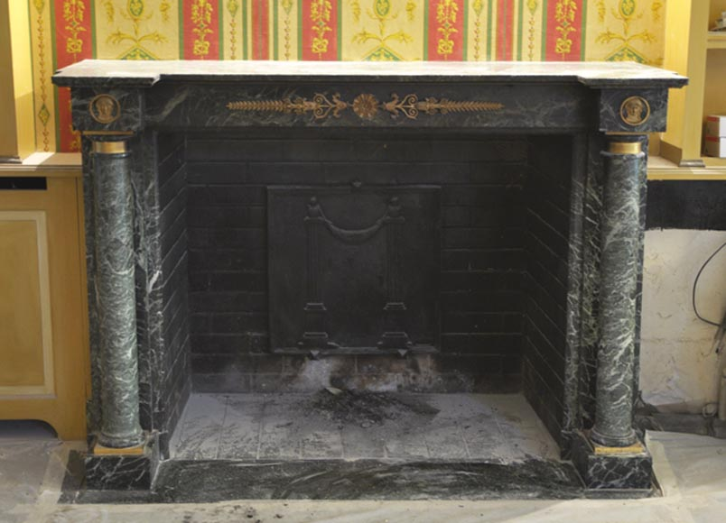 Beautiful antique Empire style fireplace in Sea Green marble with bronze ornaments - Reference 2495