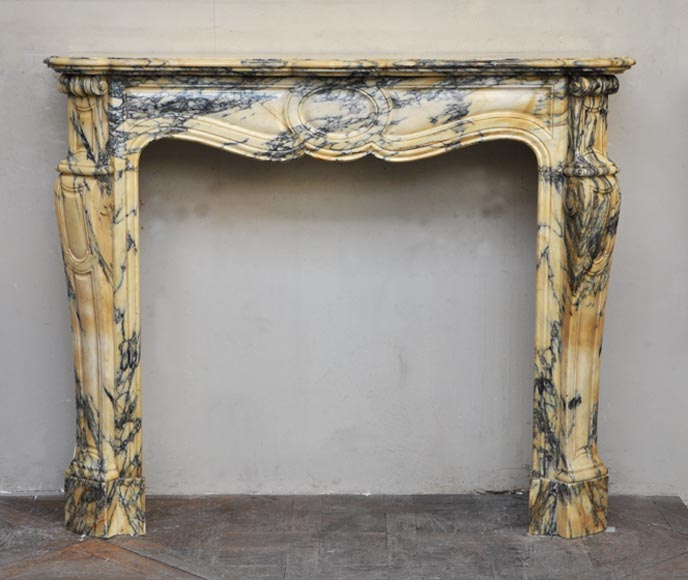 Antique Louis XV style fireplace, Pompadour model, made out of yellow veined marble - Reference 2498