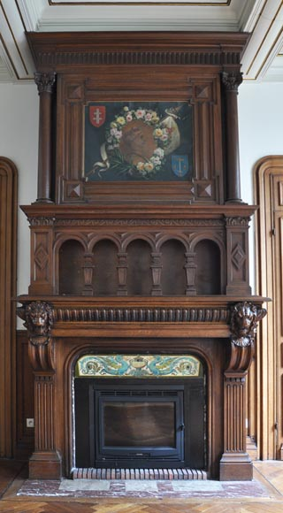 Monumental oak wood fireplace with painting on canvas depicting Joan of Arc-1