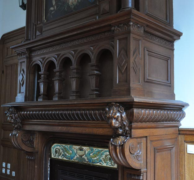 Monumental oak wood fireplace with painting on canvas depicting Joan of Arc-6