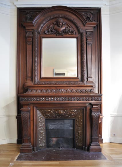 Large antique Napoleon III style fireplace in walnut wood-1