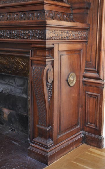 Large antique Napoleon III style fireplace in walnut wood-7
