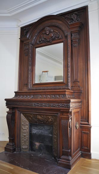 Large antique Napoleon III style fireplace in walnut wood-11