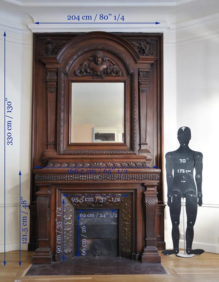 Large antique Napoleon III style fireplace in walnut wood-13