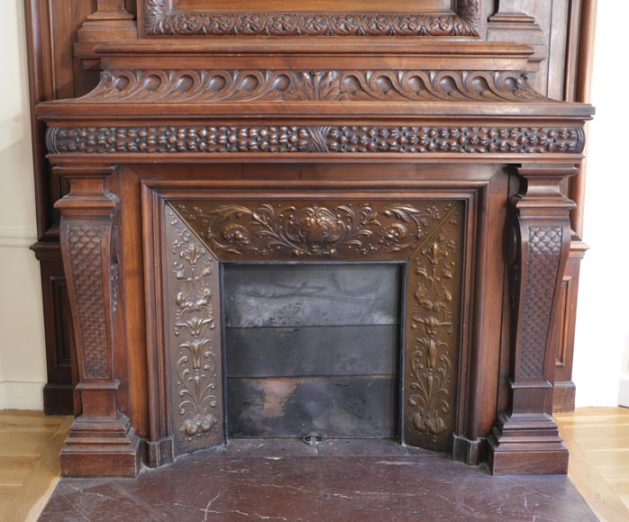 Large antique Napoleon III style fireplace in walnut wood-5