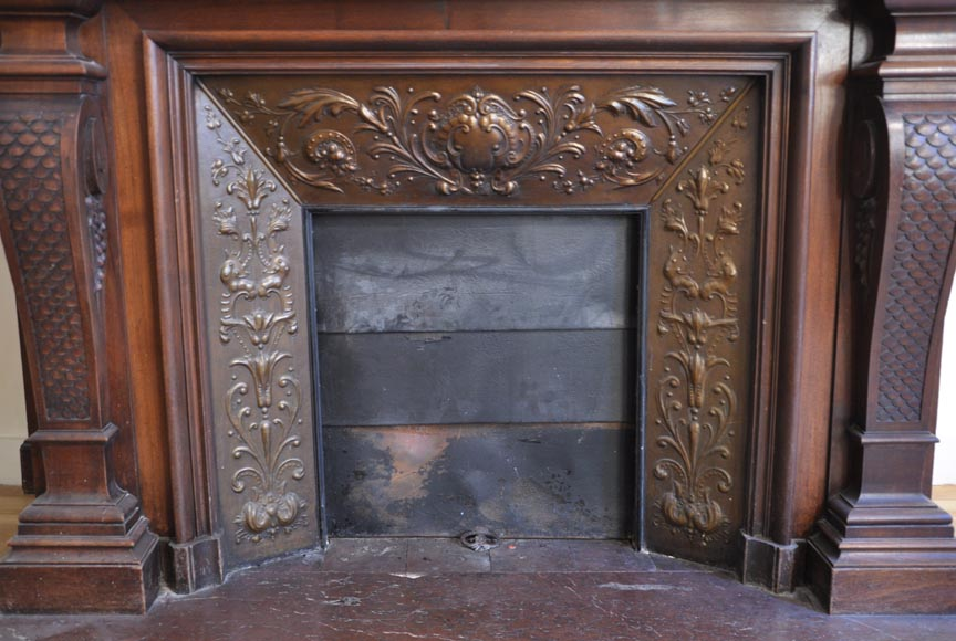 Large antique Napoleon III style fireplace in walnut wood-10