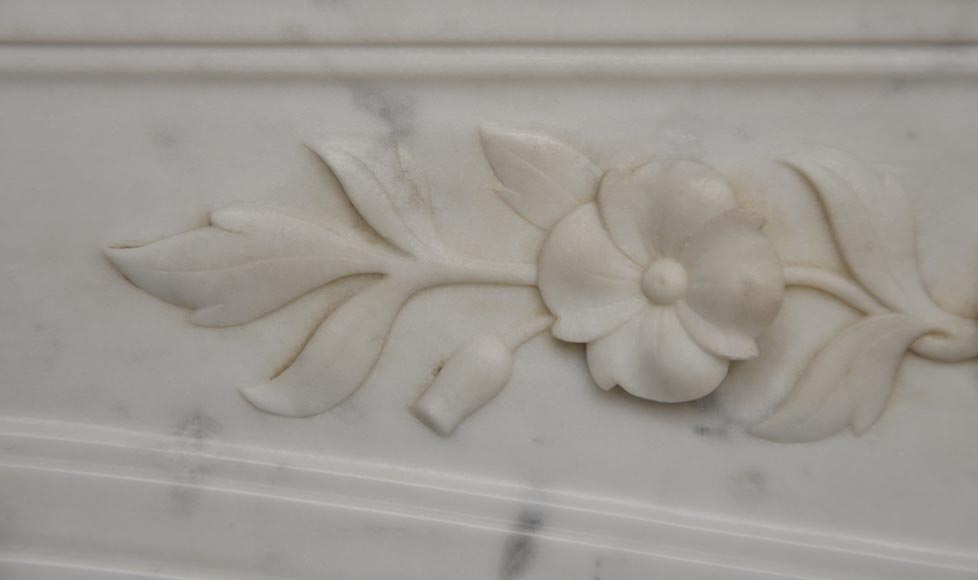 Beautiful antique Regence style fireplace with foliated decor in white Carrara marble-3