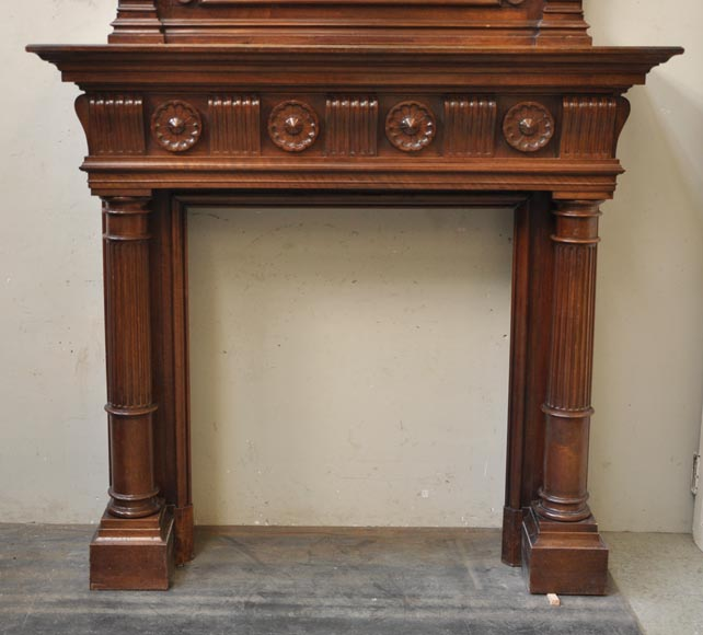 Antique Napoleon III style fireplace in walnut wood-4