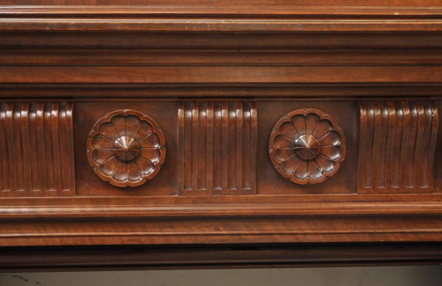 Antique Napoleon III style fireplace in walnut wood-5