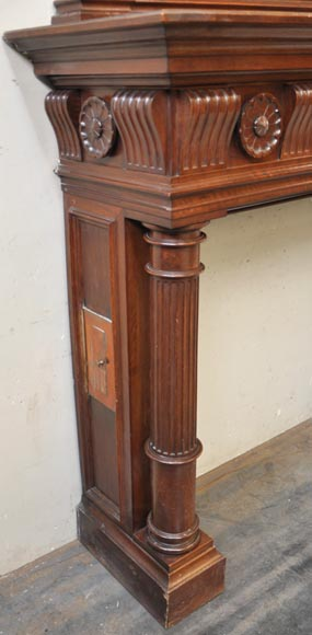Antique Napoleon III style fireplace in walnut wood-6