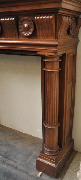 Antique Napoleon III style fireplace in walnut wood-8