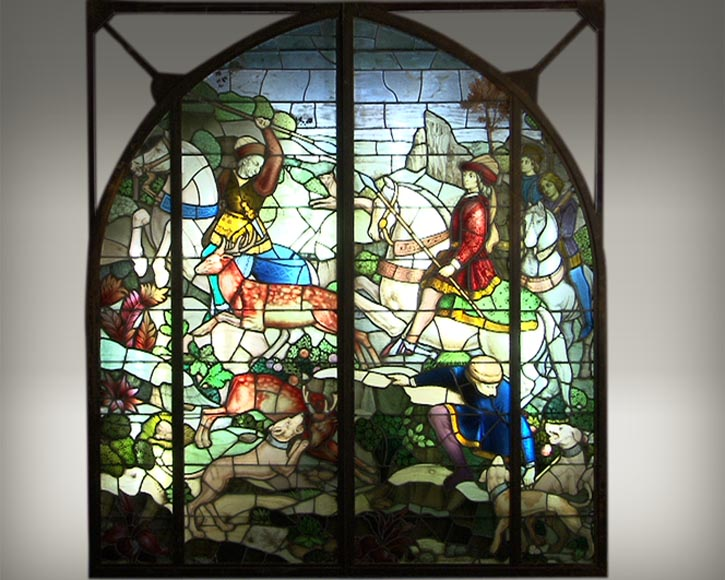"""The hunt"", large historic stained glass by Mauméjean Brothers - Reference 2516"