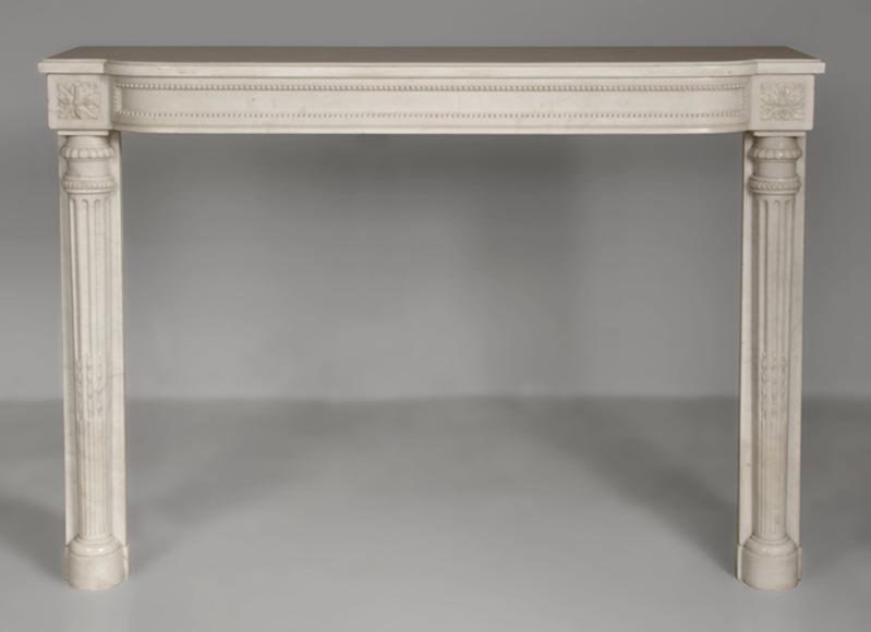 Rare antique Louis XVI style fireplace with half columns made out of Statuary Carrara marble-0