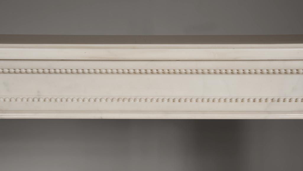 Rare antique Louis XVI style fireplace with half columns made out of Statuary Carrara marble-1