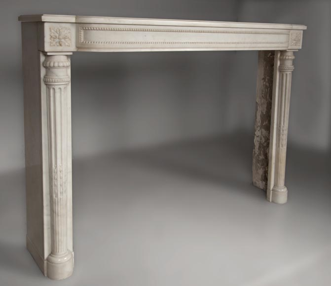 Rare antique Louis XVI style fireplace with half columns made out of Statuary Carrara marble-2