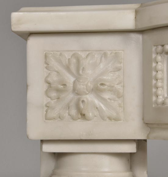 Rare antique Louis XVI style fireplace with half columns made out of Statuary Carrara marble-3