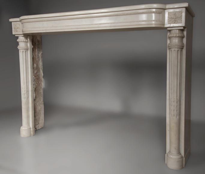 Rare antique Louis XVI style fireplace with half columns made out of Statuary Carrara marble-6