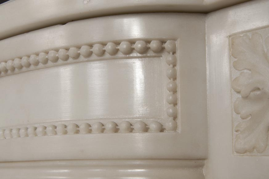 Rare antique Louis XVI style fireplace with half columns made out of Statuary Carrara marble-7