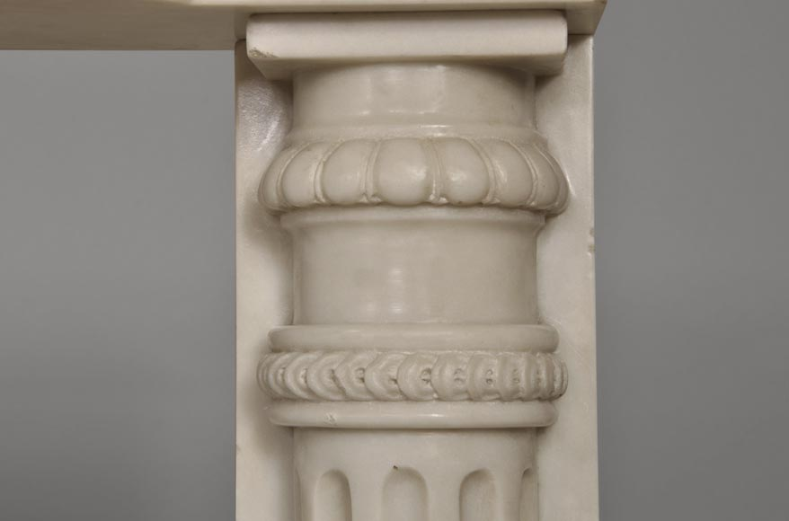 Rare antique Louis XVI style fireplace with half columns made out of Statuary Carrara marble-8