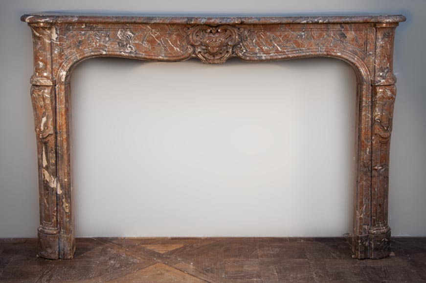 Antique Louis XV period fireplace made out of Red Royal marble in the 18th century - Reference 2531