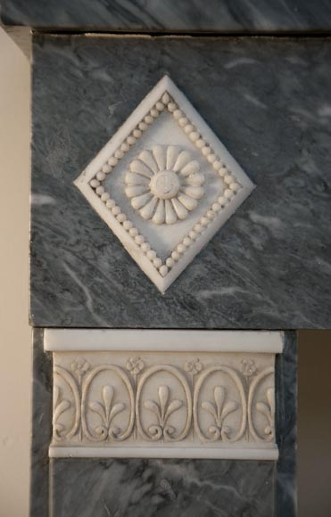 Antique Directoire style fireplace in Blue Turquin marble and Statuary Carrara marble-4