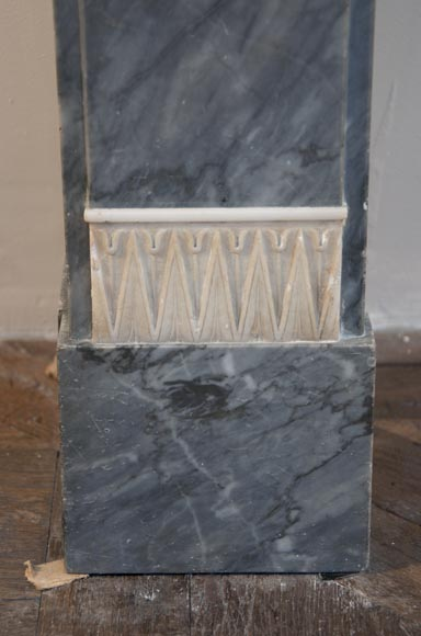 Antique Directoire style fireplace in Blue Turquin marble and Statuary Carrara marble-5