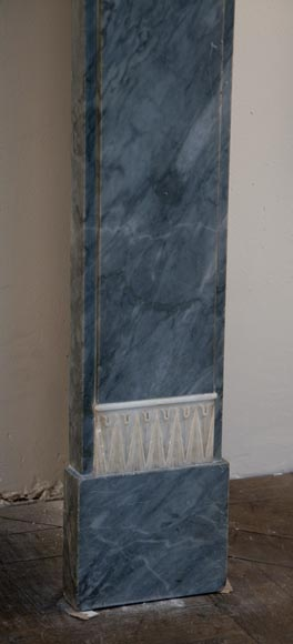 Antique Directoire style fireplace in Blue Turquin marble and Statuary Carrara marble-8