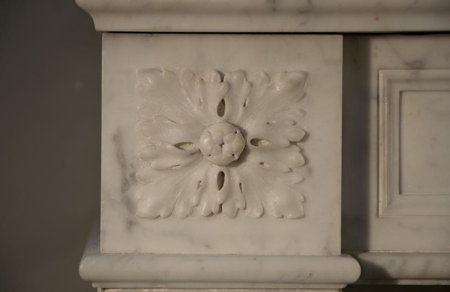 Antique Louis XVI style fireplace made out of Carrara marble with cast iron insert-3