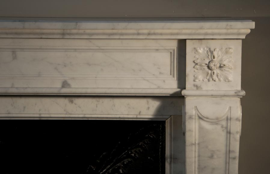 Antique Louis XVI style fireplace made out of Carrara marble with cast iron insert-6