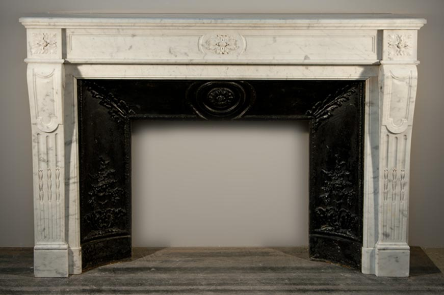 Antique Louis XVI style fireplace made out of Carrara marble with cast iron insert-0