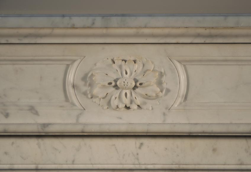 Antique Louis XVI style fireplace made out of Carrara marble with cast iron insert-1