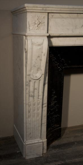 Antique Louis XVI style fireplace made out of Carrara marble with cast iron insert-2