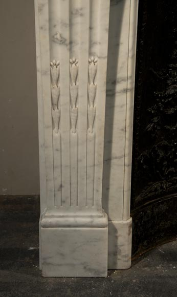 Antique Louis XVI style fireplace made out of Carrara marble with cast iron insert-4