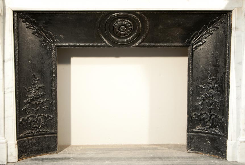 Antique Louis XVI style fireplace made out of Carrara marble with cast iron insert-10