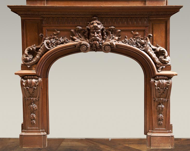 Exceptional antique oak wood fireplace made after the model of the fireplace in the Hercules Salon in Versailles Palace-1
