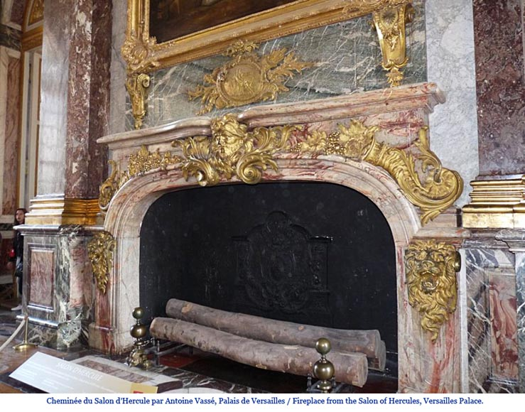 Exceptional antique oak wood fireplace made after the model of the fireplace in the Hercules Salon in Versailles Palace-21