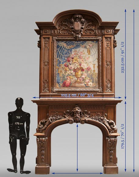 Exceptional antique oak wood fireplace made after the model of the fireplace in the Hercules Salon in Versailles Palace-22