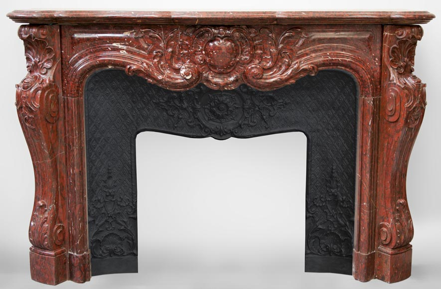 Very beautiful antique Louis XV style opulent fireplace made out of Red Griotte marble-0
