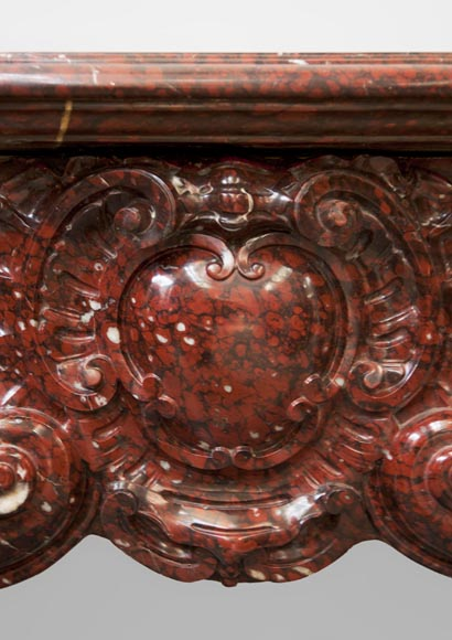 Very beautiful antique Louis XV style opulent fireplace made out of Red Griotte marble-2