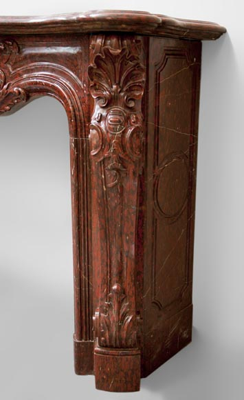 Very beautiful antique Louis XV style opulent fireplace made out of Red Griotte marble-9