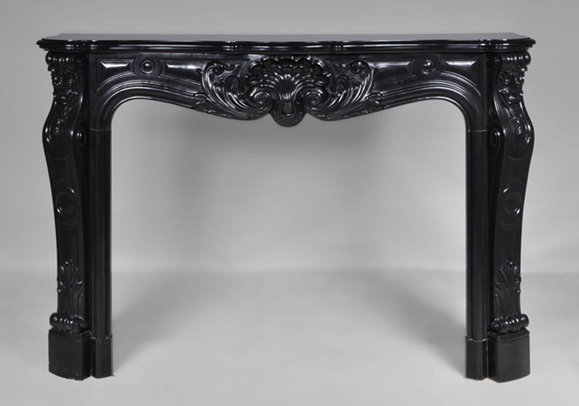 Very beautiful antique Louis XV style fireplace made out of Black from Belgium marble - Reference 2565