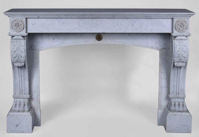 Antique Napoleon III style fireplace with lion's paws in Carrara marble  - Reference 2566