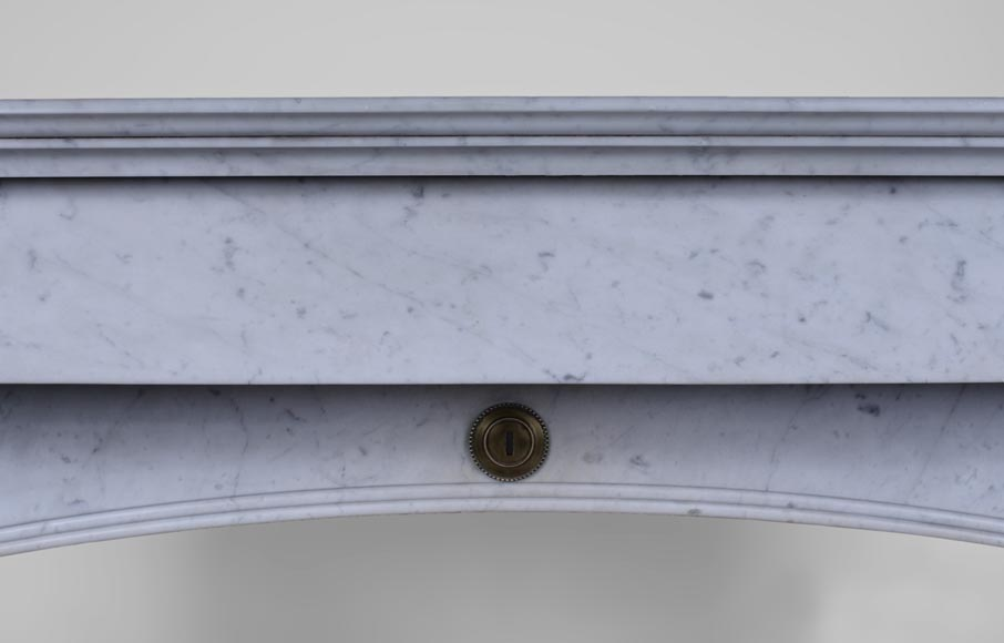 Antique Napoleon III style fireplace with lion's paws in Carrara marble -1