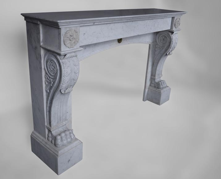 Antique Napoleon III style fireplace with lion's paws in Carrara marble -2